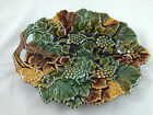 Olfaire Portugal Majolica Autumn Leaves Grapes Serving Platter Thanksgiving NWT