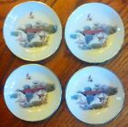 SET OF 4 ROYAL WORCESTER PHEASANT / HUNTING COASTERS / MINIATURE PLATES 4