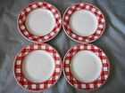 222 FIFTH Home Cupboard Red White Plaid 4 Appetizer Plates Diner