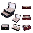 New Wood Watch Box Leather Jewelry Collection Display Storage Case Clear Top Lid