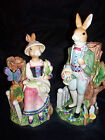 Fitz and Floyd Classic Old World Rabbit Candlesticks in Box Displayed Never Used