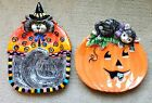 EUC Fitz and Floyd Halloween Kitty Witches and Kitten Plate Canapé Candy Dishes