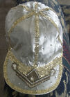 TRUE VTG Gray Satin Silver Sequined Newsboy / Cabbie Cap White Jewels Beads