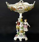 German Porcelain marked Centerpiece coupe Couple figurines encrusted majolica