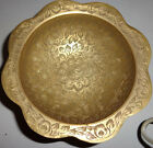 Vintage Made in India Stunning  Brass 3-Footed Bowl - Scalloped Edges - Etched!
