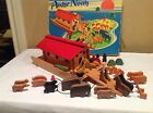 Vintage German Made Noahs Ark With Animals Wooden Pull Toy