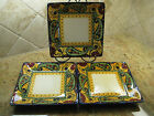 3 Corsica CROWN JEWEL Ceramic Square Dinner Plate Lot Yellow Green Blue No Chip