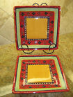 Corsica RUMBA Ceramic Square Dinner Plate Lot Red Yellow Green Blue Hand Painted