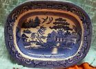 Antique William Adams and son Blue Willow platter,Staffordshire England