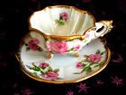 HAND PAINTED NAPCO DEMITASSE 3 FOOTED QUATRAFOIL SQUARE PEARL CUP AND SAUCER
