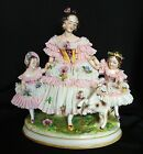 Beautiful Antique German Volkstedt Dresden Lace Victorian Lady Girls Figurine