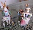 FITZ & FLOYD CLASSICS OLD WORLD RABBITS PAIR OF CANDLE HOLDERS (LADY/GENTLEMAN)