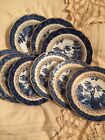 Booths Real Old Willow England Lot 9 Saucers Bowls Plates Blue