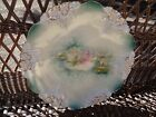 ANTIQUE PORCELAIN HAND PAINTED TEAL PINK AND WHITE WATER LILY PLATE W/ GOLD TRIM