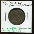 * U.S. MERCHANT- COUNTER STAMPED EAGLE ON HALF CENT PLANCHET *