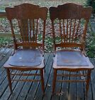 Set of 2 Oak Pressed-back Antique Kitchen Dining Chairs Ft. Atkinson, WI