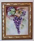GRAPES American School Hand Painted Porcelain Plaque Artist Signed 20th century