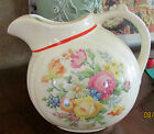Antique Water Pitcher Round Ball Made in USA Crown Potteries Floral