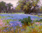 Canvas Print Oil Painting Texas Bluebonnets Landscape on canvas 16