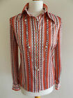 LOVELY VINTAGE 60'S WHITE/RED STRIPED CHAIN PRINT BLOUSE SIZE 10/12/S/M/38/40.
