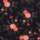 Black Medium Flower Table for Two Fabric -  Moda Fabric - Sandy Gervais - BTY