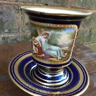 ANTIQUE ROYAL VIENNA SIGNED C.WEH COBALT BLUE AND GOLD CUP AND SAUCER*EXC. COND