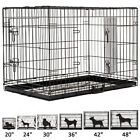 20 2430364248 Folding Dog Cage Crate 2 doors Wire Metal Kennel W ABS Tray