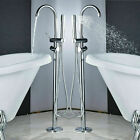 NEW Free Standing Floor Mounted Waterfall Bath Tub Faucets Bath Tub Mixer Faucet