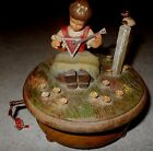 Anri Italy Wood Music Box Girl Playing Balalaika Thorens Swiss Hand Carved VTG