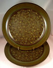 2 FRANCISCAN MADEIRA Dinner Plates USA Earthenware Stoneware Flowers Brown Green