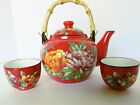Pier 1 One Wood Handle Teapot and 2 cups - Peony, Handpainted Flowers on Red Pot