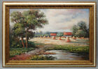 Framed Oil Painting of the French Country Side with Farm Houses and River 24x36