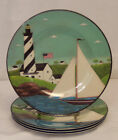 SAKURA Warren Kimble COASTAL BREEZE Lighthouse Set 4 Melamine 8 5 SALAD Plates