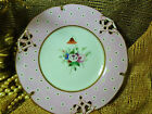 SAMUEL ALCOCK DESSERT PLATED PIERCED WITH HAND PAINTED FLORAL PINK BAND GILT