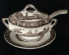 Antique Staffordshire brown transferware small tureen with lid, ladle, plate