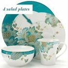 222 Fifth Eliza Teal Salad Plates, Set of 4, Paisley