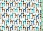1 2 yard Snuggle FLANNEL Tall Kissing Dogs Teal Brown on White BTHY