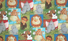 Jungle Babies Patty Reed Baby Animal Giraffe Lion Cotton Fabric BTY HY t5/34