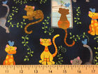 Cats Feline Kitty Cat Patty Reed Navy 100% Cotton Fabric Yard Fat Quarter w4/36