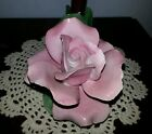 Vintage Nuova CAPODIMONTE PINK Rose Candle Holder Centerpiece~Signed Italy L@@K