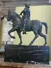 MONUMENTAL FRENCH PATINATED BRONZE STATUE FIGURINE KNIGHT HORSE WARRIER, C.1880