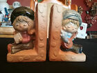 Cute vintage ceramic bookends boy and girl Japan