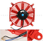 Universal 10 Motor Engine Radiator Cooler Cooling Electric Pull Push Fan Red