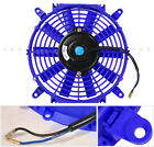 Universal 12 Motor Engine Radiator Cooler Cooling Electric Pull Push Fan Blue