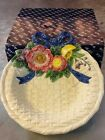 Fitz And Floyd Bustles And Beaus Basket Weave Bowl With Flowers And Bows 1995