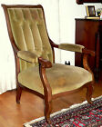 c1830 Empire lolling arm chair, solid mahogany, scroll leg and arm, 39t