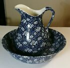 Royal Crownford Ironstone Staffordshire Pottery Blue Calico Pitcher