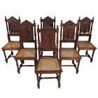 Set of 6 Antique Brittany Oak Carved Dining Chairs with Cane Seats