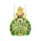 Czech Jewelled Perfume Oil Holy Water Green Bottle Pendant Necklace Holder