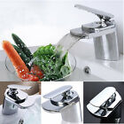 Kitchen Bathroom Sink Basin Waterfall Tap Faucet Chrome Plated Single Handle
